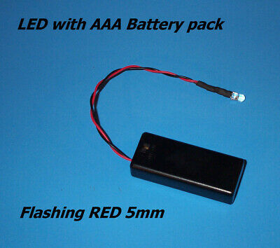 RED BLINKING 5mm LED WITH AAA BATTERY PACK & SWITCH(Halloween / Projects / DIY) (Halloween Diy Projects)