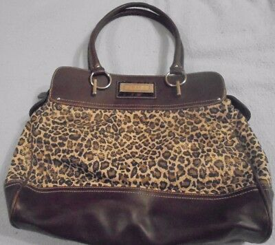 Chaps Brown Animal Print Microfiber Shoulder/Tote w/Brown Trim Shopper   110