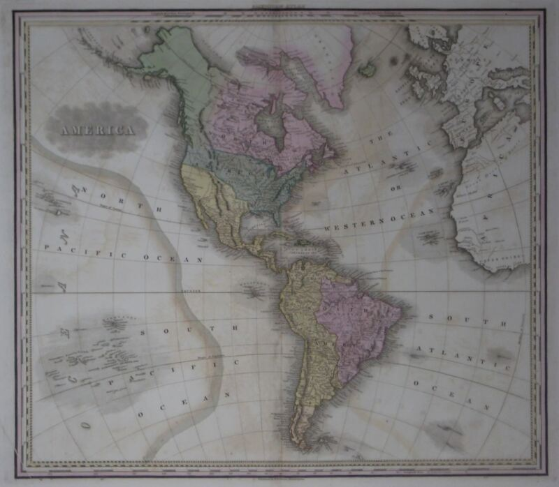 Original 1825 Tanner Map AMERICA Western Hemisphere United States Texas Arctic