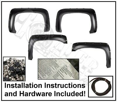 Rivet Pocket Style Fender Flares For 07-14 Chevy Silverado 1500 2500HD/3500HD