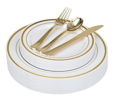 Stock Your Home 125 pc Fancy Disposable Plates with Cutlery
