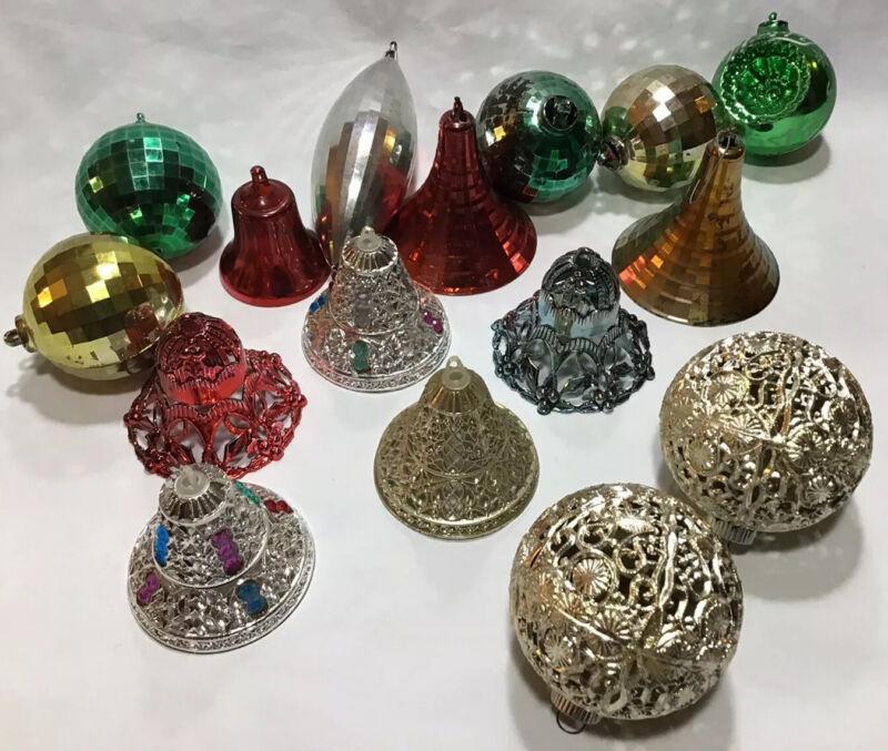 Vintage Lot Of 16 Plastic Shiny Brite Ornaments Balls Filigree Bells Some Wear