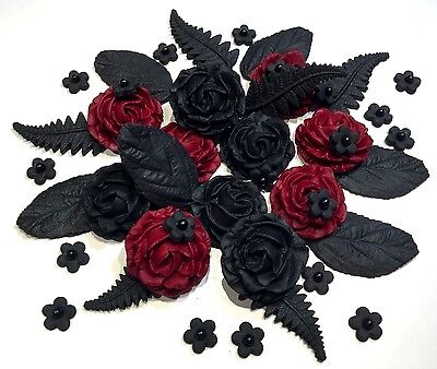 Black & Red Edible Roses Bouquet Gothic, Halloween, Wedding Cake Decorations