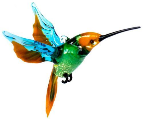 "Hummingbird Glass Figurine, Blown ""Murano"" Art, Green and Orange Bird Ornament"