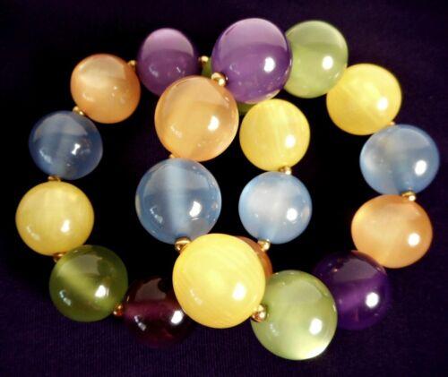 Vintage Moonglow Lucite Bead Bracelet Set Pair Purple Green Yellow Orange