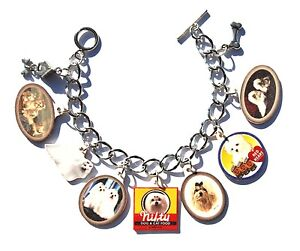 HANDMADE MALTESE DOG BRACELET VINTAGE PICTURES FOOD LABEL AD PUPPY PEWTER CHARMS