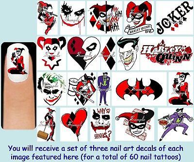 60x HARLEY QUINN & The Joker Nail Art Decals + Free Gem Batman DC Comics Villain](Harley Quinn Nails)