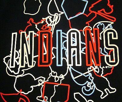 (CLEVELAND INDIANS youth lrg T shirt baseball mascots Chief Wahoo neon Adidas tee)