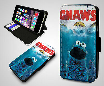 Sesame Street Cookie Monster Gnaws Funny Jaws Film Leather Flip Phone Case (Cookie Monster Film)
