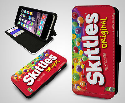 Skittles Colourful Sweets Chocolate Candy Wallet Leather Flip Phone Case Cover (Candy Wallet)