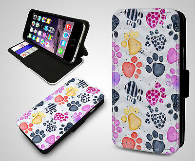 (Animal Paws Foot Prints Dog Cat Paw Pattern Flip Wallet Leather Phone Case Cover)