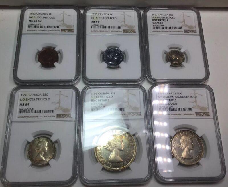 1953 Uncirculated Canada Mint Set Coins Beautiful Toning! NGC