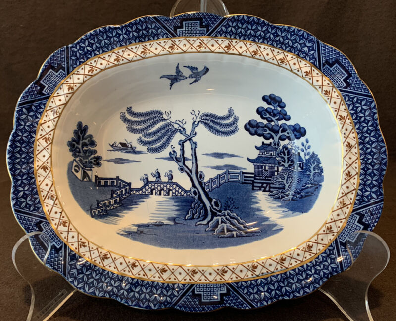 """Booths Real Old Willow A8025 Open Vegetable Bowl 10 1/8"""" L Serving Gold"""