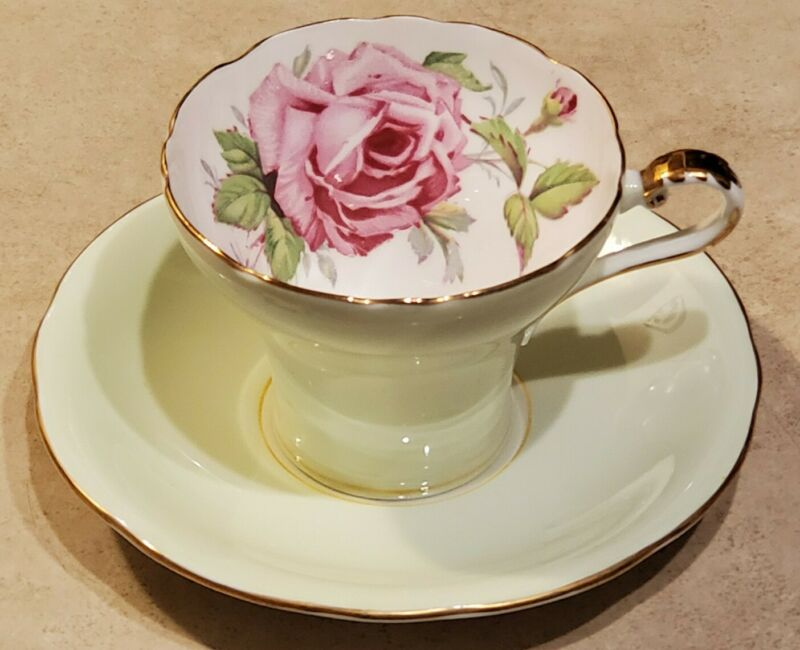 Aynsley Vintage Green Corset With Pink Cabbage Rose Antique Teacup and Saucer