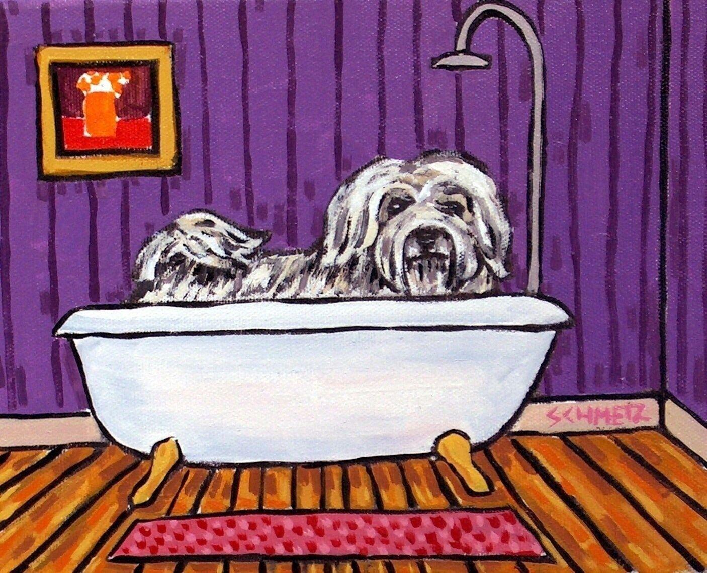 Havanese dog bathrom pet salon 8.5x11  artist prints artwork gift