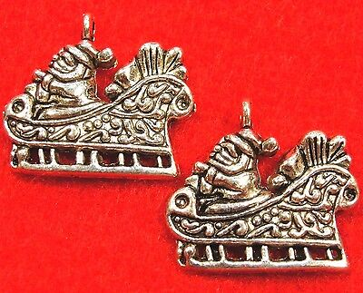 50Pcs. WHOLESALE Tibetan Silver Christmas SANTA SLEIGH Charms Pendants Q0542
