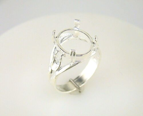 Oval Cabochon Solitaire Side Deco Ring Setting Sterling Silver