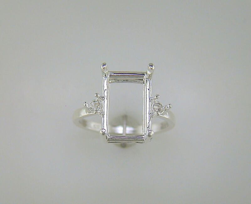 Emerald Cut Side Accented Ring Setting Sterling Silver