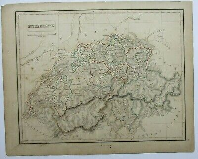 Antique Map of Switzerland by William & Robert Chambers 1845