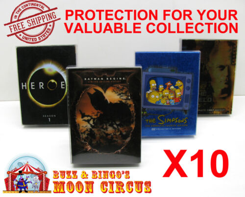 10x DVD MOVIE - OVERSIZED B - CLEAR PROTECTIVE BOX PROTECTOR CASE SLEEVE