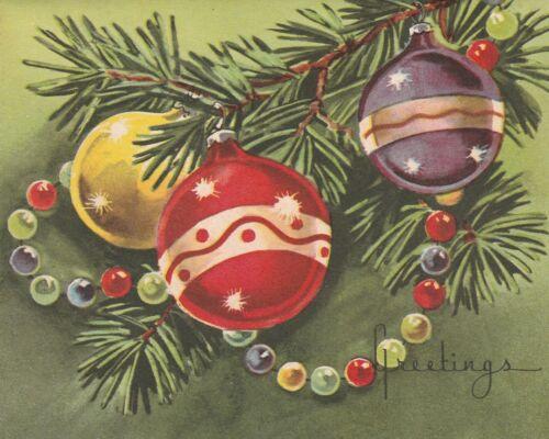 Beautiful Vintage Christmas Card Whitman Pretty Ornaments - unused