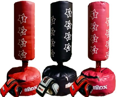 Gloves,Wraps Filled Junior FREE STANDING Boxing Punch bag Set 4FT Freestanding