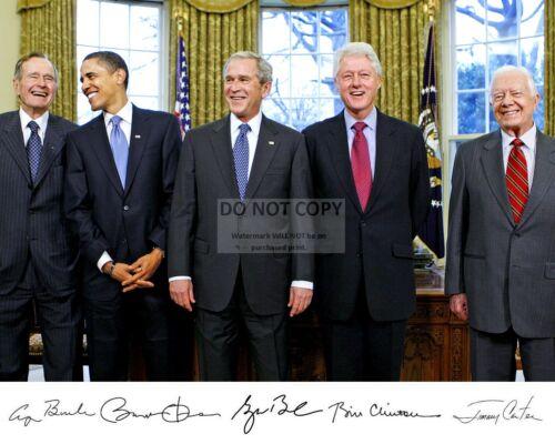 GEORGE W. BUSH, BARACK OBAMA & OTHER PRESIDENTS w/ SIGNATURES 8X10 PHOTO (WW038)