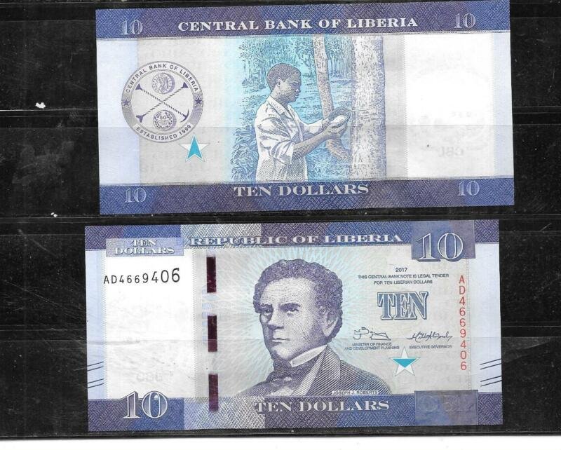 LIBERIA 2017 10 DOLLARS UNC MINT  BANKNOTE PAPER MONEY CURRENCY BILL NOTE
