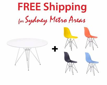 COMBO SALE - Eames Steel Leg Dining Table 120cm & DSR Chair x 4