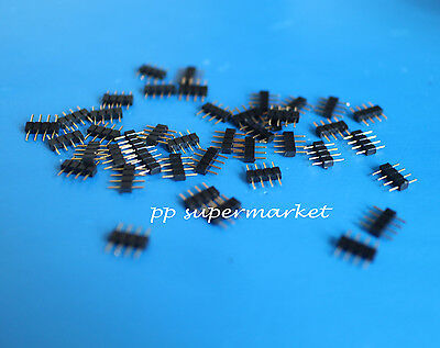 10pcs 4pin Rgb Connector Adapter Needle Male Double 5050 3528 5630 Strip Black
