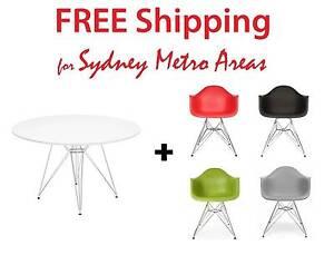 COMBO SALE - Eames Steel Leg Table & 4 x Eames DAR Chair Zetland Inner Sydney Preview