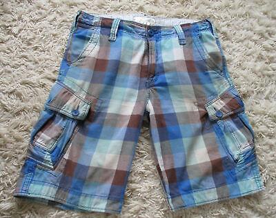 Jet Lag Blue Check Cotton Cargo Shorts W33 L12