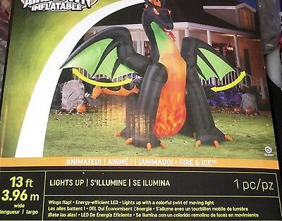 NEW 13' ANIMATED Lighted Dragon w/MOVING Wings Halloween Airblown Inflatable-WOW - Halloween Inflatables Dragon