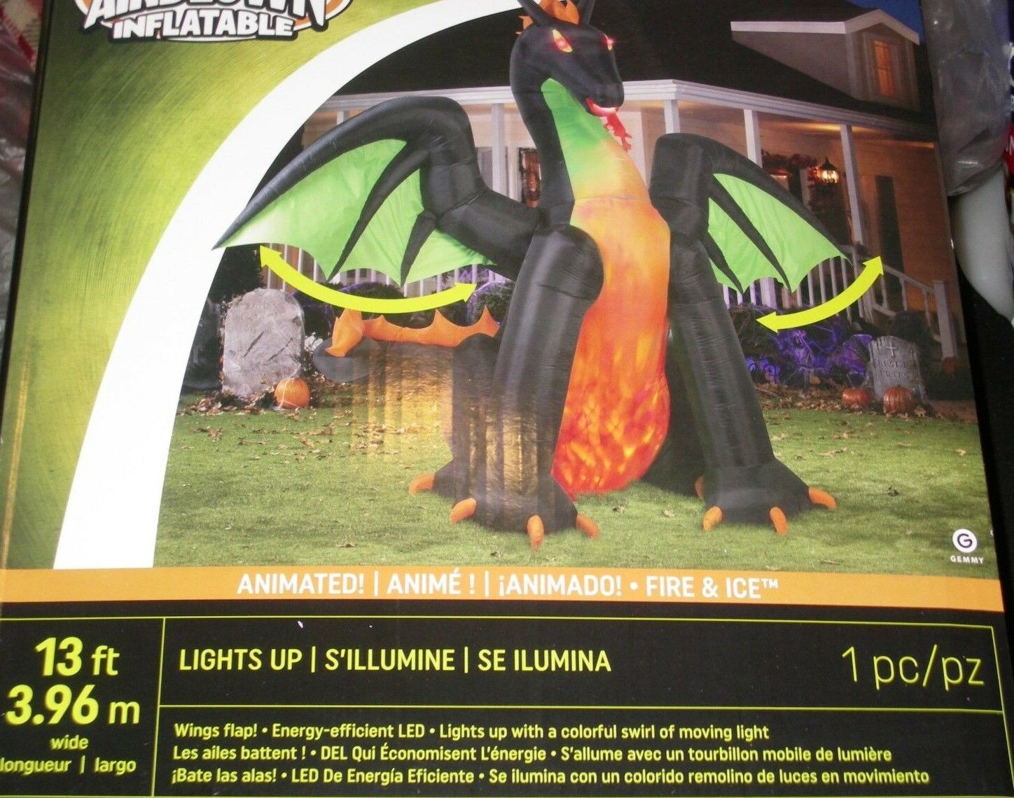 13' Animated Lighted Dragon W/moving Wings Halloween Airblown Inflatable-wow