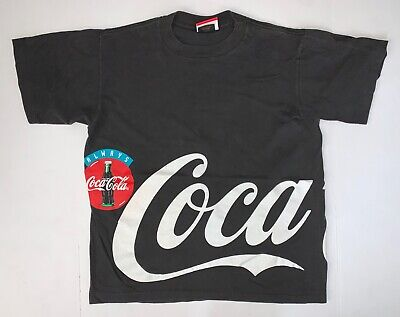 Vintage Coca Cola T-Shirt Size Large 90's Single Stitch Black