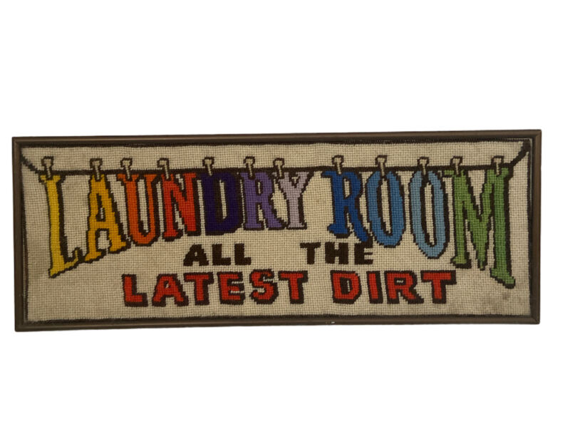 Criss Stitch Framed Vintage 70's Picture Large Theme Laundry Spell Out Colorful