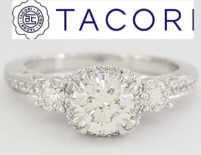 1.20ct TACORI Dantela 2623RDPTP 18k Gold Round Diamond Engagement Ring Ideal 3EX, usado segunda mano  Embacar hacia Argentina