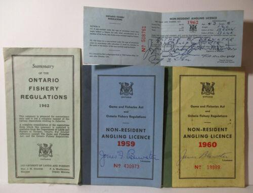 1959 1960 1962 Lot ANGLING LICENCES & Regulations ONTARIO CANADA Fishing License