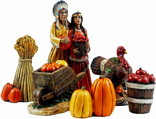 GERSON 6 PC HAND PAINTED RESIN NATIVE AMERICAN INDIAN THANKSGIVING FIGURINE SET