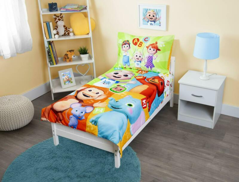 CoComelon 4-Piece Toddler Bedding Set Pillowcase Kids Bedspread Fitted Sheet New