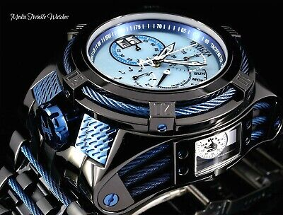 Invicta Reserve 52mm Bolt Zeus TRIA Swiss Blue Dial High Polished Black Watch !