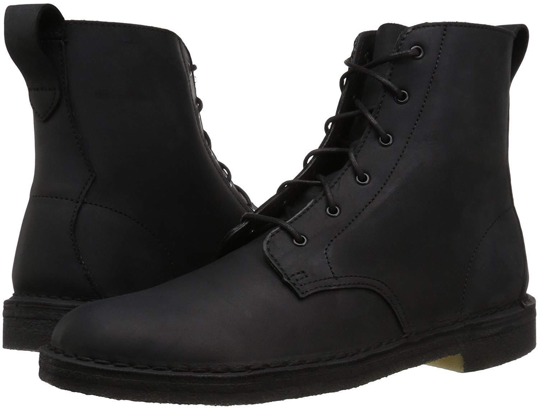 Men's Shoes Clarks Desert Mali Lace Up Boots 37703 BLACK Lea