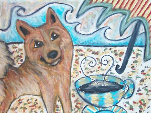 Finnish Spitz Collectible at the Beach ACEO PRINT Dog Art Card 2.5 X 3.5 KSAMS