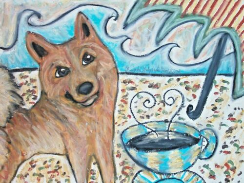 Finnish Spitz Collectible Art Print 4x6 Artist KSams Dog Drinking Coffee Beach