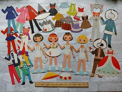 30 Pc Lot Vintage 1960s Shoelace Cross Stitch PAPER DOLLS, Halloween Costumes - Paper Doll Costumes Halloween
