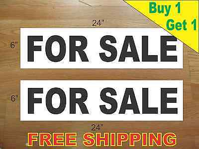 For Sale Black 6x24 Real Estate Rider Signs Buy 1 Get 1 Free 2 Sided