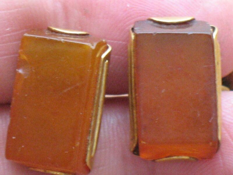 Cufflinks Antique VTG EGG YOLK AMBER Honey GENUINE Cognac Vintage Gold plate Old