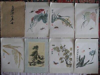 Chinese painting 齊白石 Rare POST CARD Set 9 reproductions Qi Baishi Big China vtg