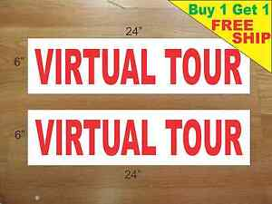 Virtual tour 6 x24 real estate rider signs buy 1 get 1 for Free virtual home tours online