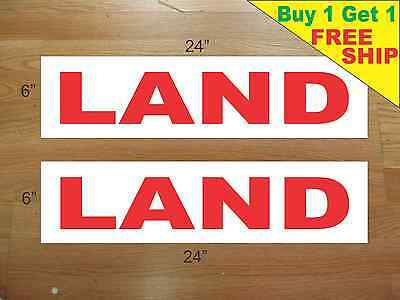 Land 6x24 Real Estate Rider Signs Buy 1 Get 1 Free 2 Sided Plastic